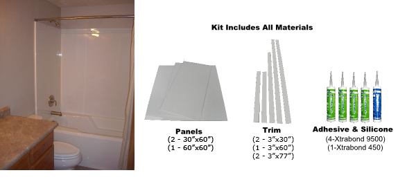 Assembled Bathtub Wall Surround Kit In White
